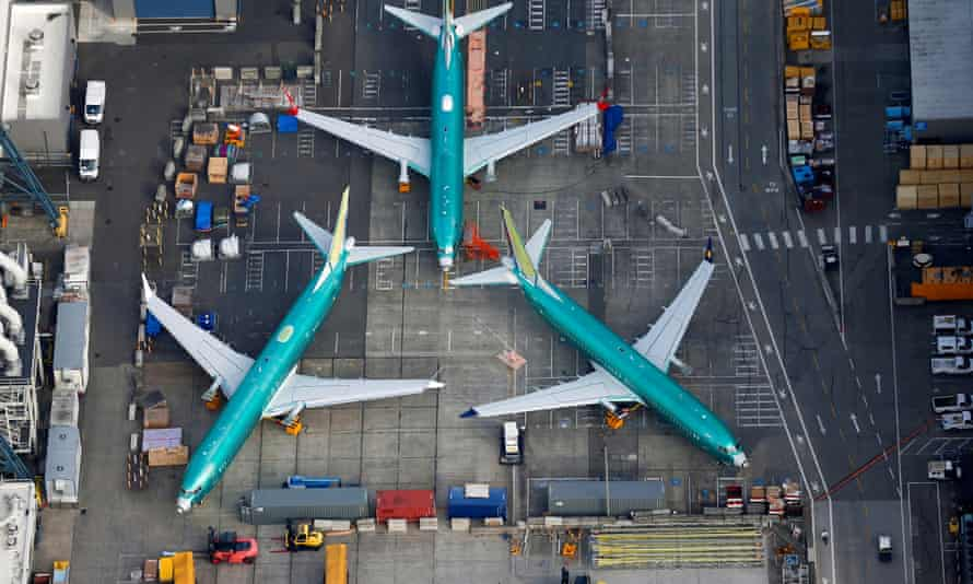 An aerial photo shows Boeing 737 Max airplanes parked on the tarmac at the Boeing factory in Renton, Washington, on 21 March 2019.