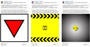 """The Trump campaign ran a number of ads on Facebook lambasting """"antifa"""". Those using the inverted red triangle, a symbol used by Nazis in the concentration camps, have been removed."""