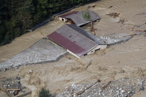 This aerial view shows the damage in Roquebilliere after heavy rains and flooding hit the Alpes-Maritimes department.