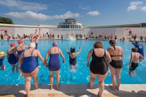 Travel Photograph taken during the opening at Saltdean Lido in Brighton. Photograph: Alecsandra Raluca Dragoi for the Guardian