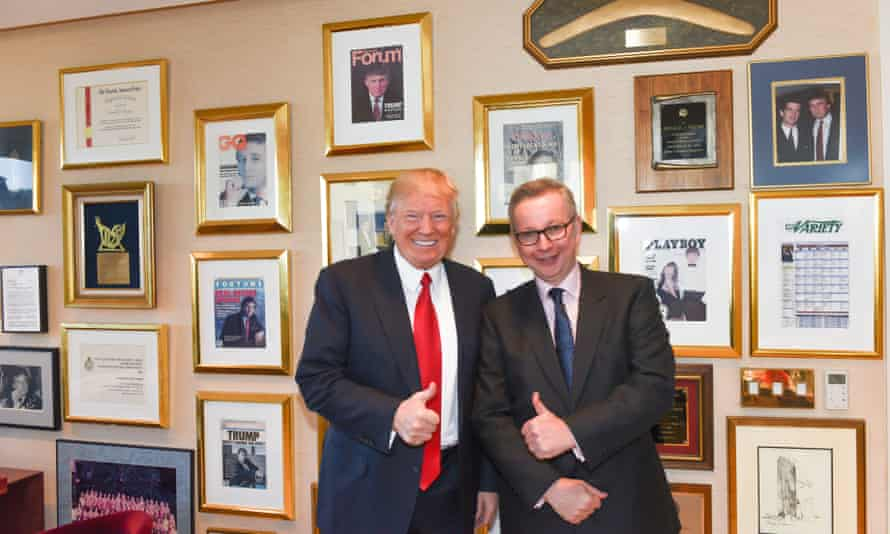President-elect Donald Trump in his office in New York City with Tory MP Michael Gove, on 14 January 2017.