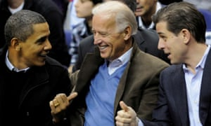 Barack Obama, Biden and his son Hunter attend a basketball game in Washington in 2010.