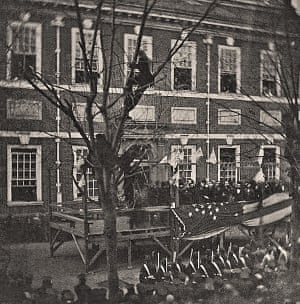 Abraham Lincoln speaks at Independence Hall in Philadelphia in February 1861.