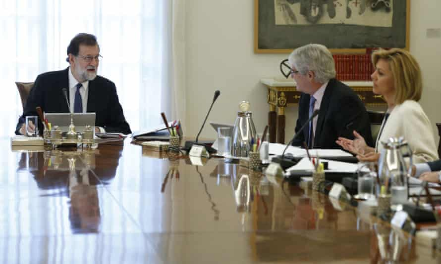 Mariano Rajoy, the Spanish PM, presides over the crisis cabinet meeting in Madrid on Saturday morning.