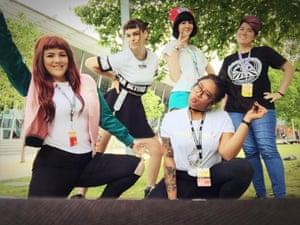 Katie Stegs, Shell Osborne, Lauren Fletcher, Bea Bravo and Kim Allom from Blushbox, at Pax Australia 2017