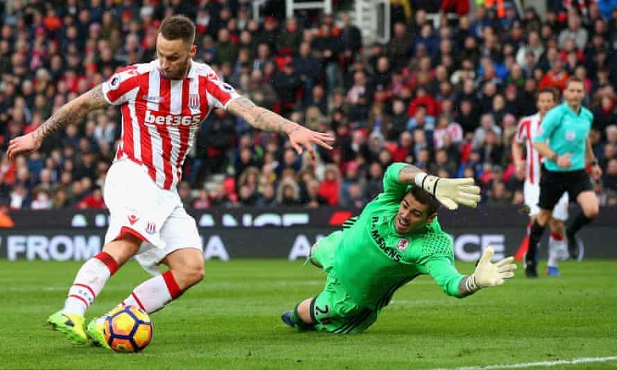 Stoke's Marko Arnautovic opens the scoring past Middlesbrough's goalkeeper Victor Valdes.
