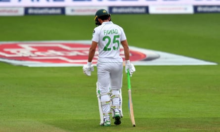 Fawad Alam trudges off after a four-ball duck against England