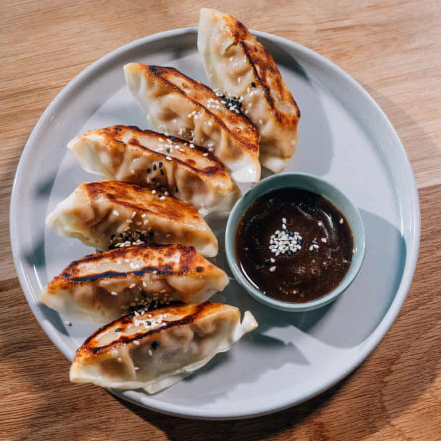 Not all noodles: silky-skinned gyoza to start.