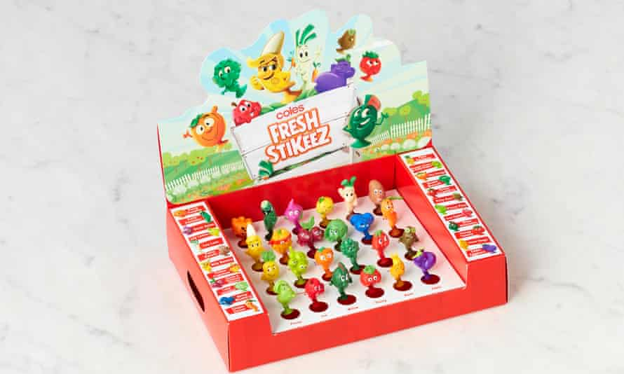The latest Coles campaign Stikeez with 24 fruit and vegetable toys to collect