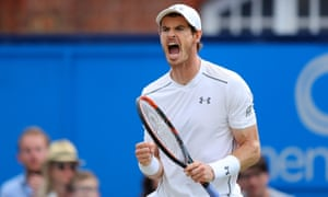 Andy Murray of Great Britain celebrates breaking serve.