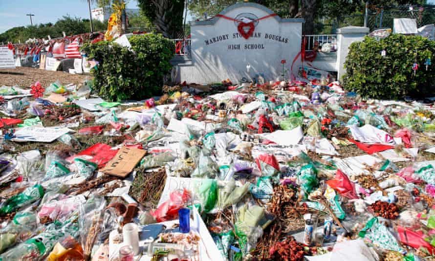 The makeshift memorial at Marjory Stoneman Douglas high school after the high school shooting that left 17 people dead on 14 February 2018.