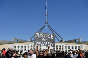 Protesters gather in Canberra.