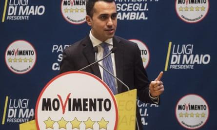 Five Stars Movement (M5S) leader and Prime Minister candidate Luigi Di Maio