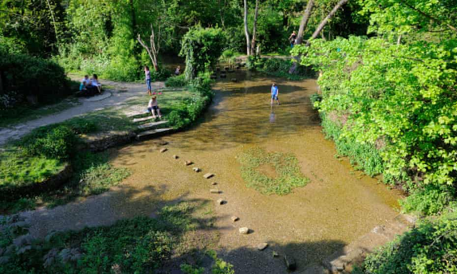 River Rhee at Ashwell springs, with stepping stones