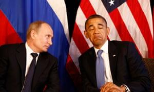 US president Barack Obama with Russian President Vladimir Putin.