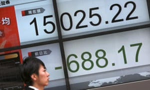 An electronic board showing Japan's Nikkei 225 in Tokyo on Friday. The bourse could record its worst week since 2008.