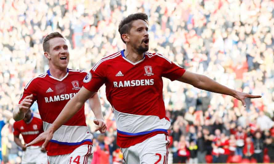 Gastón Ramírez celebrates opening the scoring in Middlesbrough's 2-0 win over Bournemouth at The Riverside.