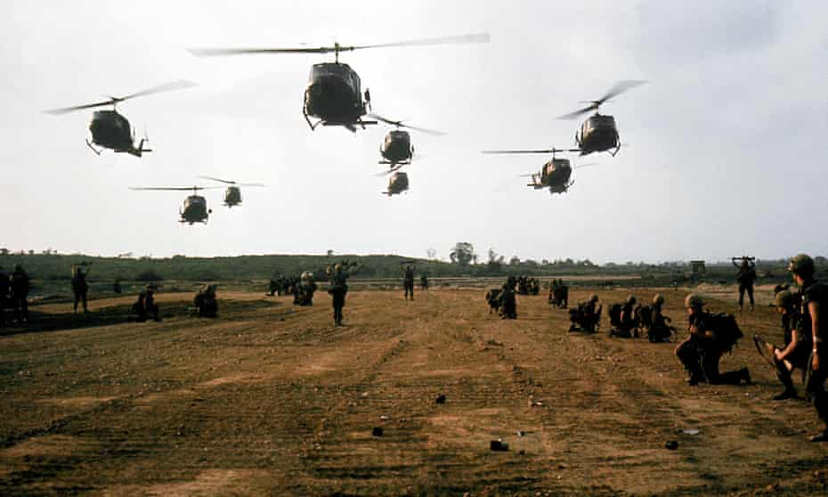 American helicopters in flight during the My Lai massacre on 16 March 1968.