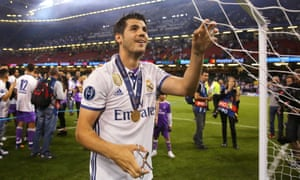 Álvaro Morata, here celebrating Real Madrid's Champions League final win in June, is wanted by Chelsea's manager, Antonio Conte.