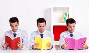 three identical business men