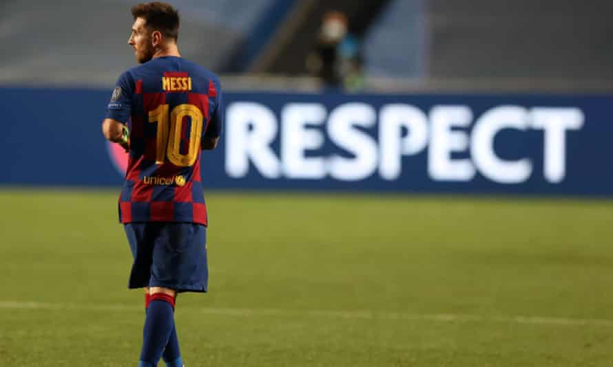 Lionel Messi cuts a lonely figure at the final whistle
