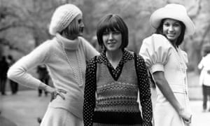 Mary Quant with two models, May 1972.