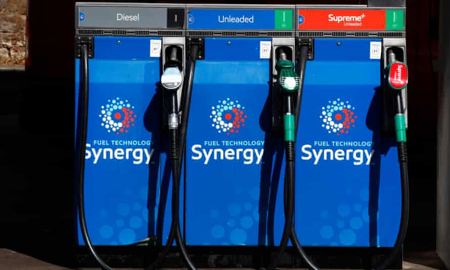 Petrol and diesel pumps are seen on a UK forecourt.
