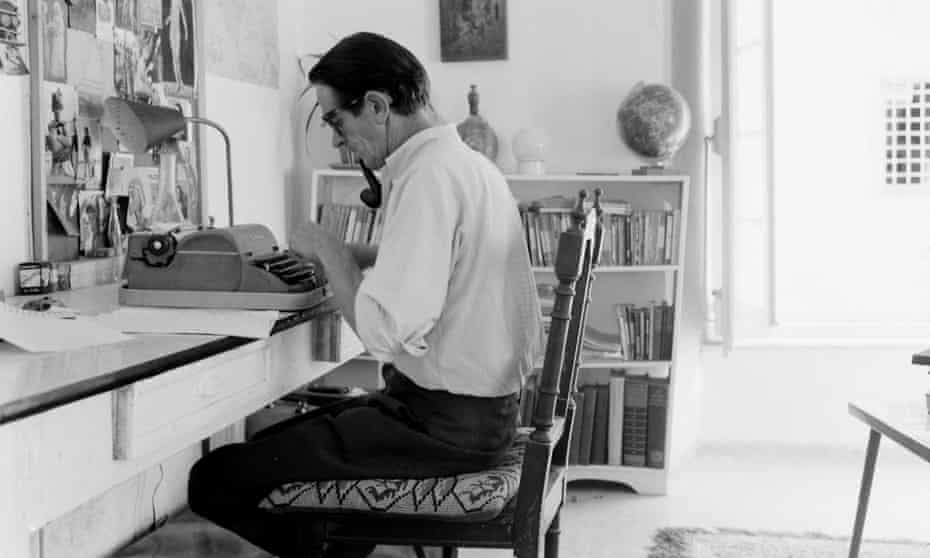George Johnston on his typewriter at his home in Hydra, Greece, October 1960.