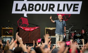 Jeremy Corbyn speaks to the crowd on the main stage at Labour Live
