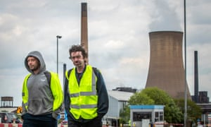 Workers leave the steelworks in Scunthorpe
