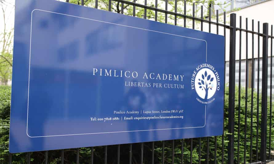 A sign outside Pimlico academy in London.