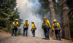 Firefighters in Ben Lomond, California on Sunday.