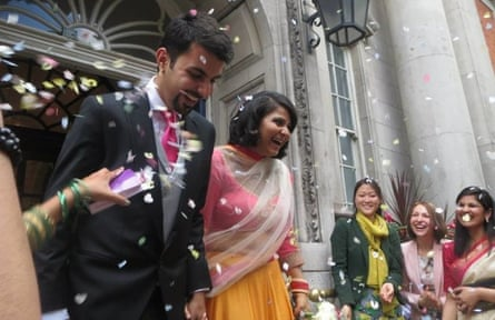 Satbir Singh and his wife, Gitanjali, who was allowed into the UK after the Home Office admitted its mistake.