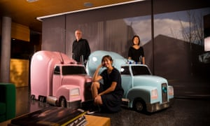 Art collectors and owners of the Housemuseum Galleries, Corbett and Yueji Lyon with daughter Jaqlin, with Patricia Piccini's Truck Babies. Photograph by Christopher Hopkins for The Guardian