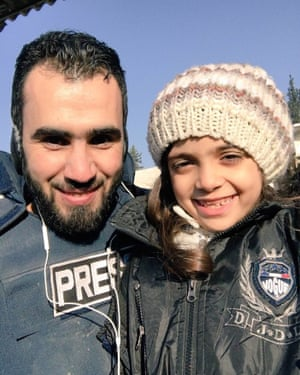 Bana al-Abed photographed with Syrian journalist Hadi al Abdallah on Monday.