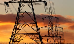 Electricity pylons against a red sky