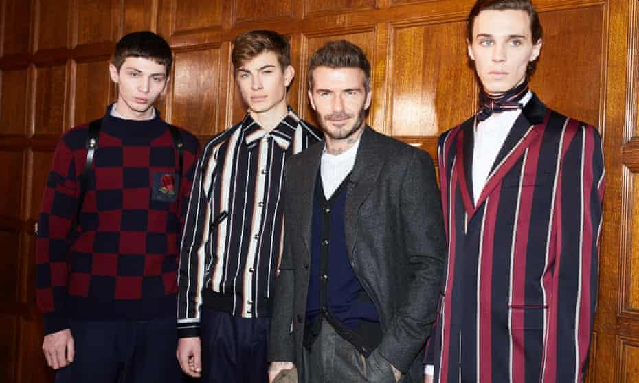 David Beckham backstage with Kent & Curwen models