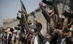 Tribesmen loyal to the Houthi rebels rally in the capital, Sana'a.