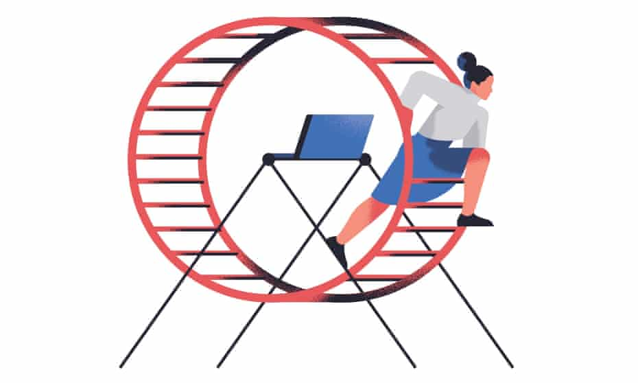 hamster wheel illustration for andy beckett long read on post-work 19 jan 2018