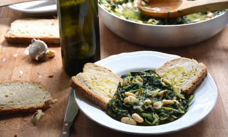Rachel Roddy's white beans and wilted greens.