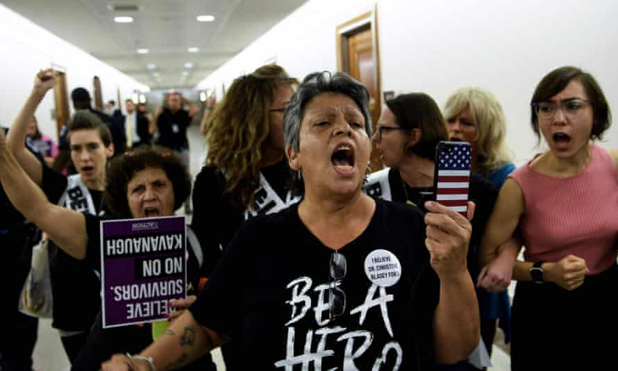 Activists on Capitol Hill protest against the nomination of Brett Kavanaugh.