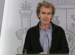 Emergency centre chairman Fernando Simón during the press conference about coronavirus crisis in Madrid on Saturday