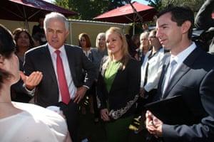 Malcolm Turnbull (from left), the member for Lindsay, Fiona Scott, and Senator Simon Birmingham