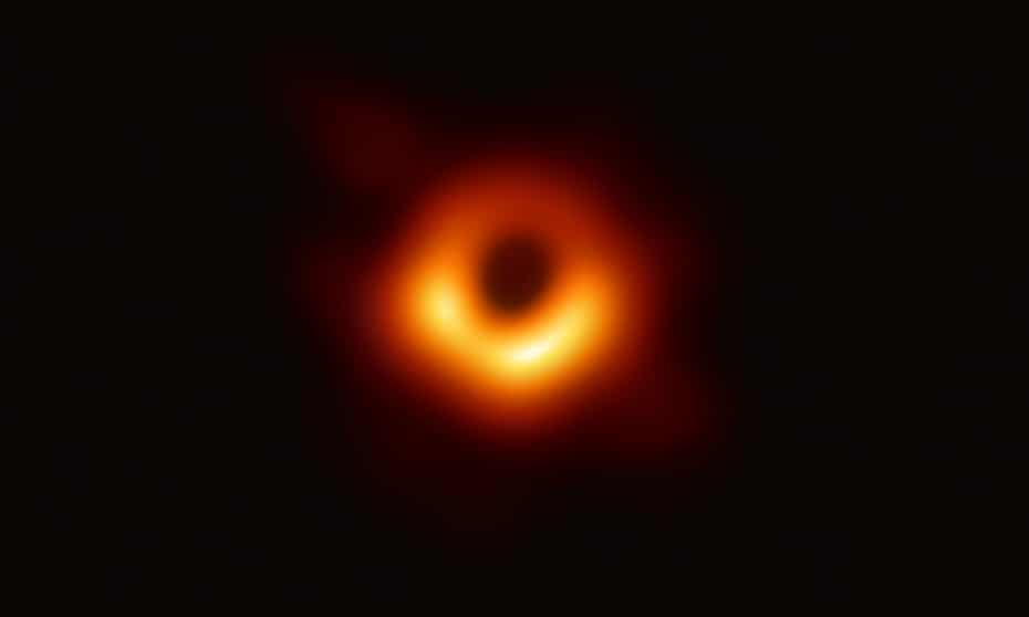 The image of a black hole captured by the Event Horizon Telescope.