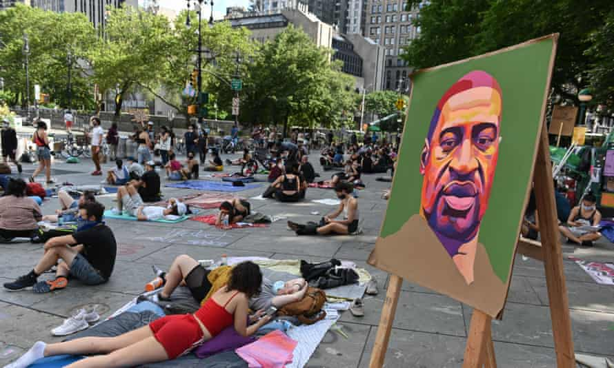 Hundreds of Black Lives Matter protestors congregate at City Hall in New York City Monday.