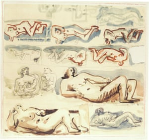 A watercolour sketch by Henry Moore, identified among a Nazi art hoard in the Kunstmuseum in Bern.