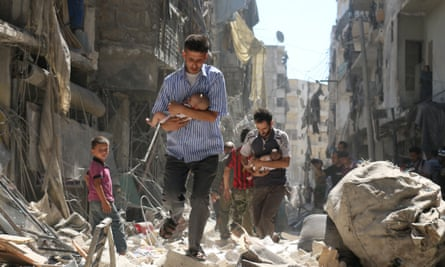 The desolation caused by airstrikes on the rebel-held Tariq al-Bab neighbourhood of Aleppo, Syria.
