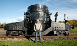 Ex-steelworker Billy Robson next to machinery from the Consett plant
