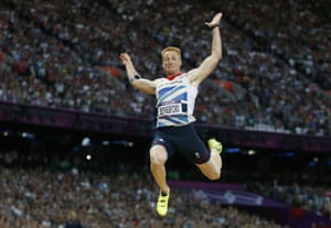 Britain's Greg Rutherford jumps to Olympics gold in London four years ago.