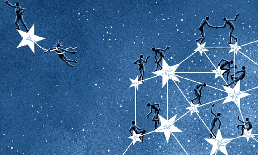 People climbing stars of the EU